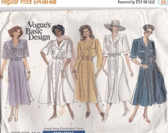 ON SALE 1980s Vogue Basic Design Dress Pattern No 2313 for Misses Dress, 8-12 Size 36 inch bust, Uncut, Factory Folded