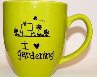 Hand Drawn I Love Gardening Hobby Mug (Customizable)