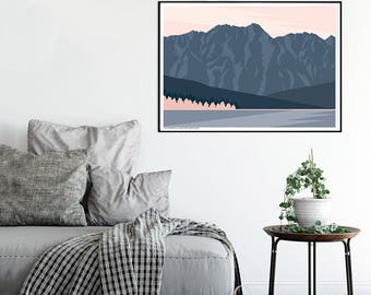 Art prints greeting cards art dot decals by bridgethalldesign the remarkables mountain range queenstown new zealand modern landscape art print reheart Images