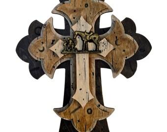 """Praying Cowboy Cross Rustic Western Wall Decorative 15"""" Inch Tall"""