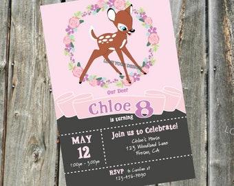 Fawn Baby Deer Bambi Birthday Invitation Custom Easily Personalize YOU PRINT Animal Jam