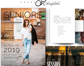 Senior Welcome Guide, Photography Template, Price Guide, Photoshop Marketing Template, Magazine, SPM350, INSTANT DOWNLOAD
