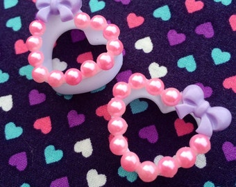 Bow & Pearl Heart Tunnels- 18mm,20mm,22mm,24mm,25mm (11/16'', 3/4'', 7/8'', 1'')