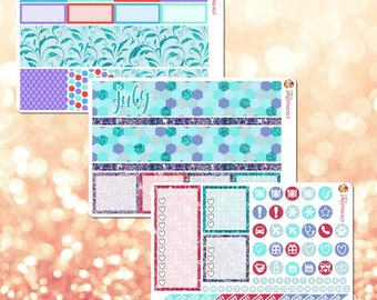 July Monthly Kit, Monthly View Sticker Kit for Erin Condren Life Planner - 105 stickers!