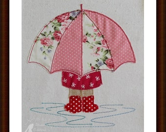 Raw Edge Applique Rainy Days Machine Embroidery DesignPattern  5x7 6x10 8x12 hoops by Titania Creations, Instant Download.