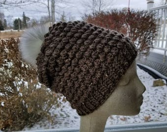 Slouch Hat - Slouch Beanie - Crochet Slouch Hat with Removable Fur Pom Pom - Women's Hat - Teen Hat - Ready to Ship