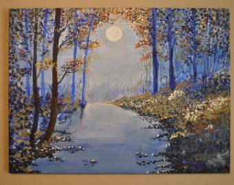 """Full Moon Acrylic Canvas Large Painting 24""""x18"""" Blue River Painting"""