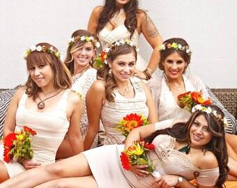 Destination Wedding dried flower crown Daisy Sunflower orange Bridal Hair Wreath Hippie headpiece summer halo accessories