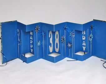 HAPPY 38th Birthday Pop Up Accordion Book-Card Original Handmade in Metallic Shimmery Blue and Silver w/Hard Cover Binding CUSTOM ORDER OOaK