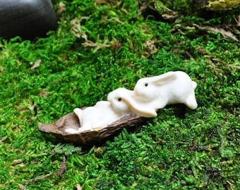 Two Rabbits Sledding+Fairy Garden Miniatures+Fairy Garden Figurines+Fairy Garden Supplies+Fairy Garden Accessories