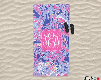 Monogrammed Lilly Inspired Beach Towel - Shrimply Chic