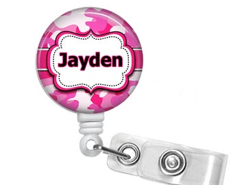Personalized Pink Camo, Retractable ID Badge Reel (D_48)