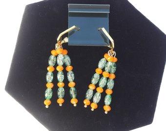 ORANGE AND GREEN Beaded Dangle Earrings