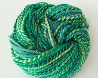 Hand-spun Yarn- Hand dyed 100% Wool Yarn, 2ply Super Bulky Weight, 110 yards, Spring Green
