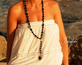 """Rosary style Long onyx necklace  """"Aries"""" - FREE SHIPPING- silver skulls necklace"""