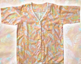 Vintage Pastel Floral Cotton Top — M/L