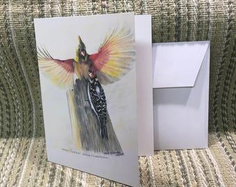 Female Cardinal and Downy Woodpecker