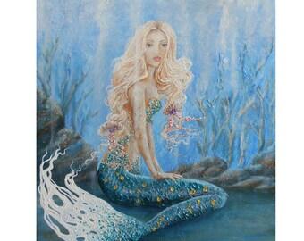Beautiful blonde mermaid wall art print, mermaid fine art print on canvas,  unique mermaid art. Original painting by Nancy Quiaoit