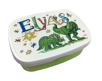 Lunchbox Dino, with name, Green