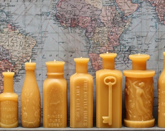 "Beeswax Candle Collection - antique bottle shaped - ""Huge Lot"" - by Pollen Arts - 13 candles"