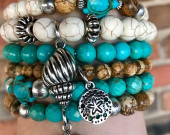 Turtle lovers! Set of 6 boho stacker stretch bracelets in picture jasper, natural and dyed turquoise beads with sea turtles & beach charms