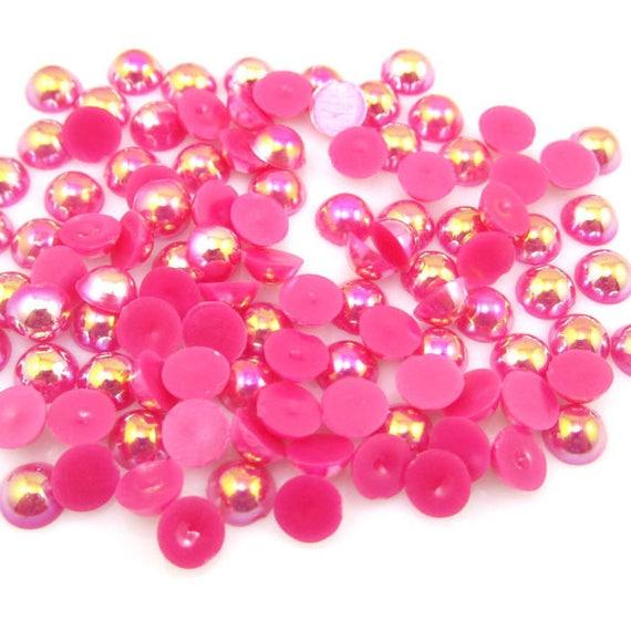 MajorCrafts® Dark Pink AB Flat Back Half Round Resin Pearls C10