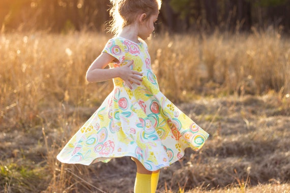Easter Dress Spring Dress Twirly Easter Dress Toddler Dress Girl Dress Summer Dress Pastel Dress Mint Yellow Pink Twirl Dress Short Sleeve
