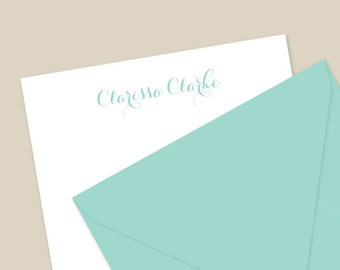 Personalized Stationery and Envelopes, Half Sheet Stationery Set, Letter writing paper - Script