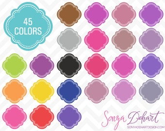 80% OFF SALE Clipart Digital Frames Moroccan Quatrefoil Monogram Labels 45 Colors Commercial Use