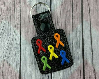 Awareness Ribbon Snap Tabs for Sports Bags and Luggage, Key Chains, Zipper Pulls