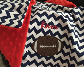 Football Baby Blanket | Personalized Football Baby Blanket | Football Name Baby Blanket