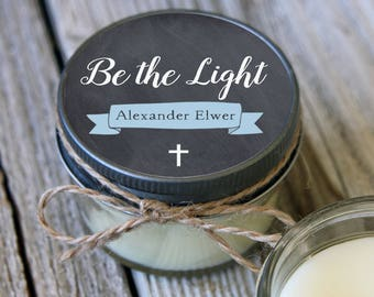 25 - 4 oz //Be the Light Baptism Favor//First Communion Favor//Soy Candle Favor//Personalized Baptism Favor