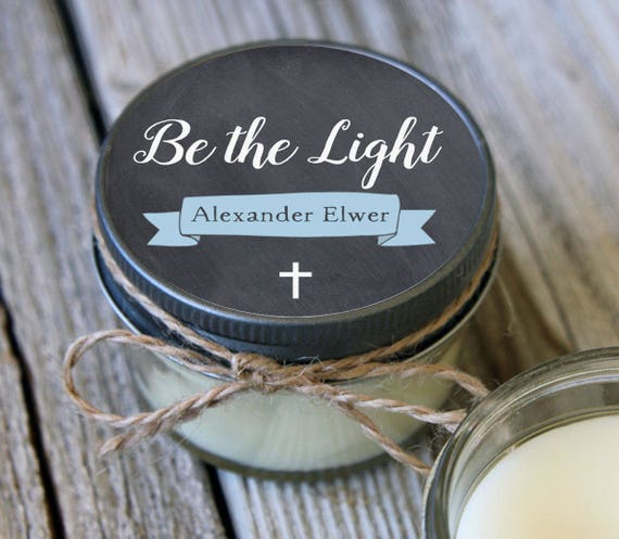 12 - 4 oz //Be the Light Baptism Favor//First Communion Favor//Soy Candle Favor//Personalized Baptism Favor