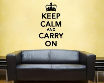 large Keep Calm and Carry On vinyl Wall DECAL-  interior design, sticker art, room, home and business decor