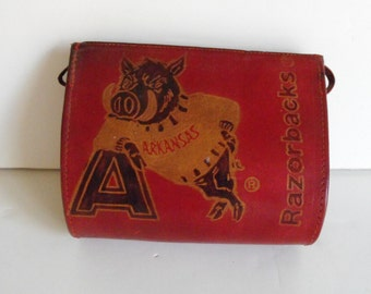 Red Leather Arkansas Razorbacks Purse  (1459)