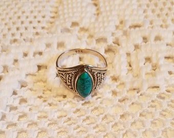Turquoise Signer Ring Sterling Silver Ethnic Jewelry