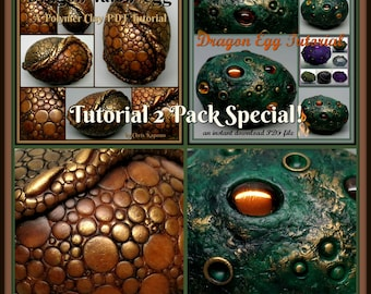 Dragon Eggs,  A Polymer Clay PDF Tutorial 2 Pack Special, Decorated Egg Paperweight, Fantasy Decor