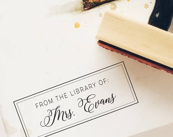 Custom Bookplate, Personalized Bookplate Stamp, Gift for Her, Library Stamp, Book Stamp, Teacher Gift, From the Library of Stamp, 16B