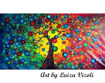 Large Painting 72x36 Huge Canvas Seasons Tree Art by Luiza Vizoli Modern Landscape Canvas