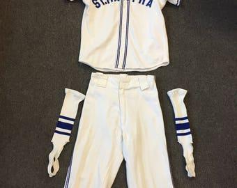 Vintage 1940's 50's St Martha Youth Baseball Uniform Dads Club School Church Sport