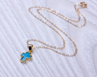 Turquoise cross necklace / Personalized Cross Necklace / Gold filled cross necklace / Layered cross necklace / Bridesmaid necklace | Orseis