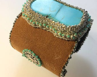 Turqouise and Leather Statement Cuff