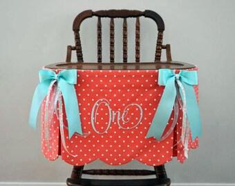 High Chair Skirt, First Birthday High Chair Banner, Coral/Turquoise High Chair Banner, First Birthday Girl