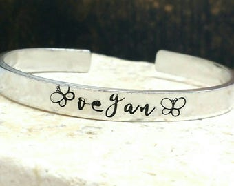 Vegan butterfly swirly girly script font bracelet - adjustable - handstamped - aluminium, copper, brass or sterling silver