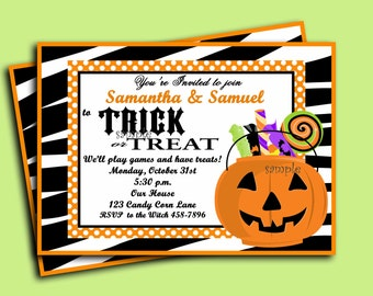 Halloween Invitation Printable - Trick or Treat Collection