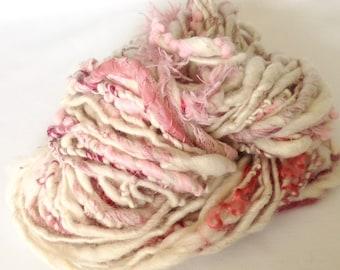 Handspun Art Yarn, Art Yarn, Alpaca Yarn, White