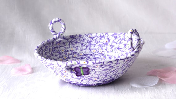Spring Lavender Basket, Handmade Purple Coiled Bowl, Cute Ring Dish, Hair Tie Holder, Ultra Violet Artisan Quilted Bowl