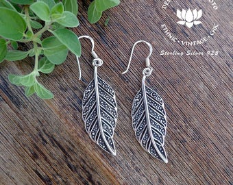 Sterling Silver leaf Earrings, Leaf earrings, Leaf Lovers, Leaf shaped Earrings, Antique Leaf, Gift for her,Intricate Leaf ,Gift for her