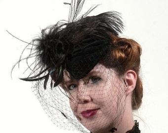 Raven teardrop vintage black full veil