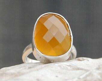 Orange Calcite Ring, Faceted Orange Calcite sterling silver ring, Yellow Calcite Solid silver ring Jewelry